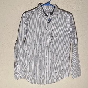 NEW Skull & Bow Tie Button Down Top Size 10/12